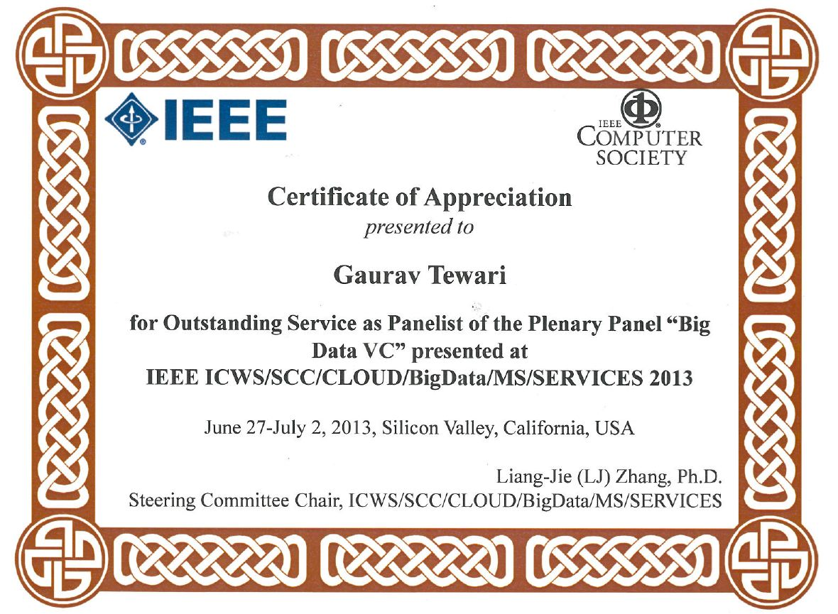 Ieee Big Data Vc Certificate Of Appreciation Gaurav Tewari